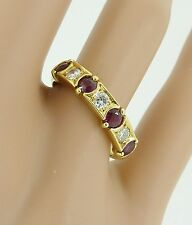 Quality Vintage 18ct Gold Ruby & Diamond Half Eternity Ring. Size N,1/2. NICE1