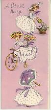 VINTAGE GARDENER GARDEN FLOWERS GIRL WATERING CAN BICYCLE PARASOL CARD ART PRINT