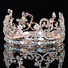 Chic Rose Gold Natural Opal Crystal Rhinestone Wedding Tiara Prom Pageant Crown