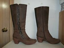 NAOT ILLUSION Brown Leather Knee High Side Zip Heels Boots Size US 9.5-10 /EU 41