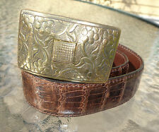 fine J M Davidson brown alligator skin belt 30