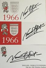 THREE ENGLAND 1966 WORLD CUP SIGNED CARDS NORMAN HUNTER - LEEDS UTD - BARGAIN