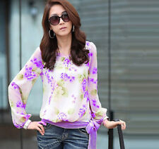New Chiffon Womens Floral T ShirtPrint Long Sleeve Blouse Casual Tops size XL