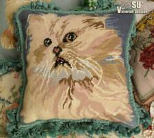 Tassel BLUE Vtg Needlepoint  Pillow Cushion Cover FRINGE~Cat Kitten Animal