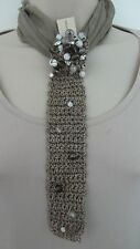 Brunello Cucinelli Taupe Silk  Beaded  Choker Necklace Tie . New with Tag.