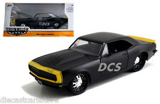 JADA 1967 CHEVROLET CAMARO MATT BLACK / YELLOW 1/24 DIECAST MODEL CAR  97170