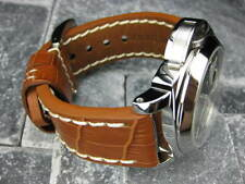 BIG CROCO 20mm Honey Brown LEATHER STRAP White Stitch watch Band OMEGA Seamaster