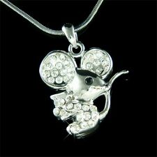 w Swarovski Crystal Cute Little MOUSE cheese Girls Charm pendant Necklace NEW