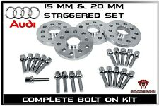 4 Pc Audi 15 MM & 20 MM Hub Centric Wheel Spacers W/Bolts A3 A4 A6 A8 TT