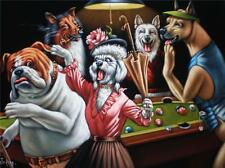 Dogs playing pool black velvet oil painting original handpainted signed art