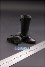 "1/6 Soldier Accessory Tall Black Leather Riding Boots For 12"" Action Figure"