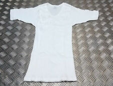 Genuine German Army White Vintage Ribbed Scoop Neck Short Sleeve Top  S/M - NEW