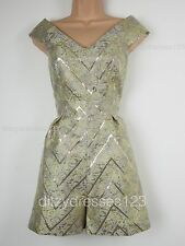 BNWT Definitions Gold Jacquard Off the Shoulder Playsuit Size 16 RRP £45