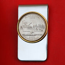 US 2005 Minnesota State Quarter BU Uncirculated Coin Two Toned Money Clip New
