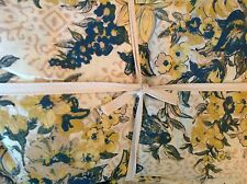 APRIL CORNELL TABLECLOTH 60  X 84 CREAM GOLD BLUE 100% COTTON NIP