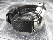 New CARBON Fiber 20mm LEATHER STRAP Band Black with Black Stitch BREITLING 20 mm