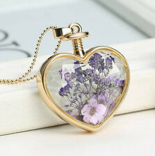 Gold Purple Flower Rose Heart Necklace Pendant Jewellery Gift for her Wife Mum