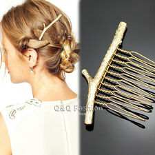 Grecian Bridal Prom Gold Tree Branch Hair Pin Clip Dress Snap Barrette Comb