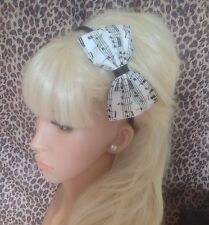 "NEW IVORY BLACK MUSIC MUSICAL NOTE PRINT FABRIC 5"" SIDE BOW ALICE HAIR HEAD BAND"