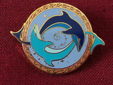 "SAVE THE EARTH pin - ""BLUE DOLPHINS SWIMMING IN CIRCLE"" cloisonne pin, BDP5"
