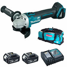 MAKITA 18V DGA454 ANGLE GRINDER 2 BL1840 BATTERIES DC18RC CHARGER & LXT600 BAG
