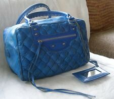 Auth Balenciaga Matelasse Quilted Glazed Blue Chevre Leather Duffle Satchel