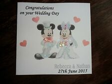 Cute Mickey & Minnie Mouse Handmade Personalised Wedding Card any names and date