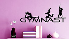 GYMNAST WALL DECAL WORDS / GIRL ROOM DECOR STICKER gymnastic leotard palm grips