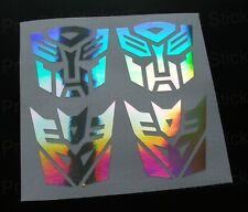 50mm (5cm) Transformers Silver Hologram Chrome Stickers Autobots Decepticons