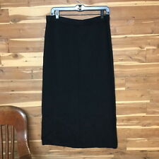 ST JOHN BASICS Long Skirt BLACK SANTANA KNIT 16 Back Vent 34.5 in Long
