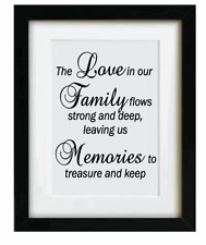 """Vinyl Sticker Fits 10"""" x 8"""" Frame - THE LOVE IN OUR FAMILY - LIFE QUOTE"""