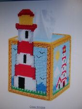 "CRAFTWAYS LIGHTHOUSE TISSUE BOX COVER PLASTIC CANVAS NEEDLEPOINT KIT 9x4.5""  NIP"