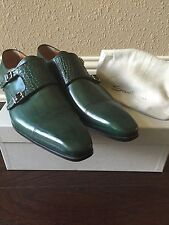 NIB Santoni Double Monk Crocodile Strap Shoes Green UK 10 ~11 US $1700