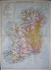 1934 LARGE MAP ~ IRELAND POLITICAL & RAILWAYS TIME DISTANCE ZONES from DUBLIN