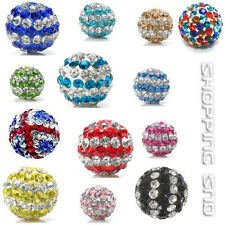 10MM Stripe Clay Disco Balls Beads Czech Crystal Shamballa Pave Premium Quality!