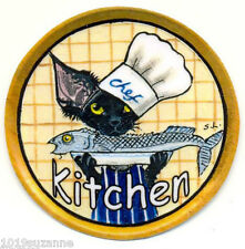 DEVON REX CAT CHEF PAINTING  KITCHEN LAMINATED DOOR SIGN  BY SUZANNE LE GOOD