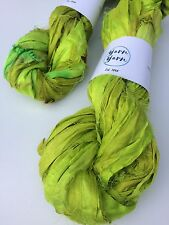 Sari silk ribbon, ethical yarn, recycled yarn, caterpillar green. 5 yards.