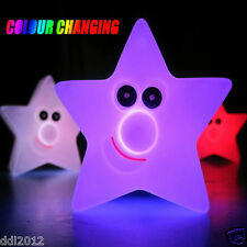 New Changing Color LED Light Multi-Color Novelty Star Smile Night Lamp Decor