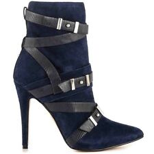 $149 Guess Parley Pointed Toe Booties Blue Multi Suede Buckles Details Size 7