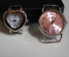 SET OF 2 SILVER  FINISH HEART/ROUND WATCH FACES FOR BEADING,RIBBON OR OTHER USE