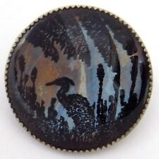 Vintage Round Pin Black Silhouette Swamp Scene with Egret on Butterfly Wing