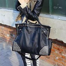 Women Leather Shoulder Bag Rivet Shopping Crossbody Black Messenger Tote Handbag