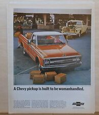 1968 magazine ad for Chevrolet - Fleetside CST pickup, built to be woman handled