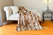 Medium Exotic Faux Fur Throws Comforters Brown Beige Rabbit Soft Furry Blanket