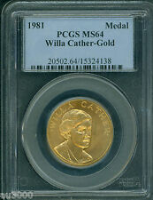 1981 Willa Cather Commemorative 1/2 Oz. Gold Medal American Arts Pcgs Ms64 !
