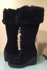 COACH Karita Black Suede Fur Trimmed Lace Up Tall Wedge Boots Size 6.5