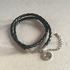 "Leather Bracelet ""DIABETIC"" Black Rope Wrap Wristband, Diabetes Identity Bangle"