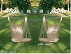 2 White Cotton padded Swing hammock hanging outdoor Chair garden patio porch