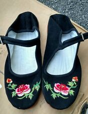 Women's Chinese Mary Jane Floral Cotton Shoes Slippers in Black - Size 35 New