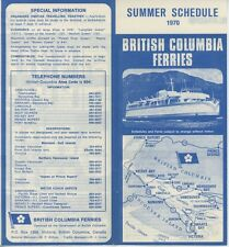 1970 British Columbia Ferry Schedule Travel Brochure Canada Victoria Summer